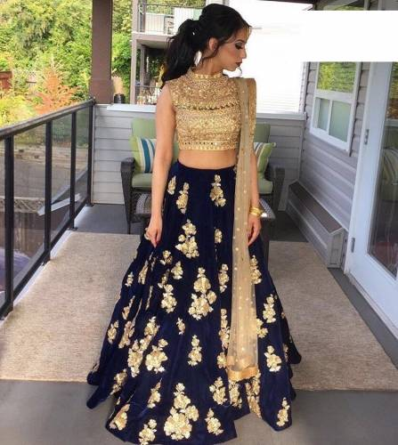 Wedding Wear Taffeta Silk Embroidered Semi Stitched Lehenga Choli for Women