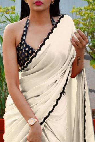 Adorable Party Wear Satin Chiffon with multi Work Lace Border Saree