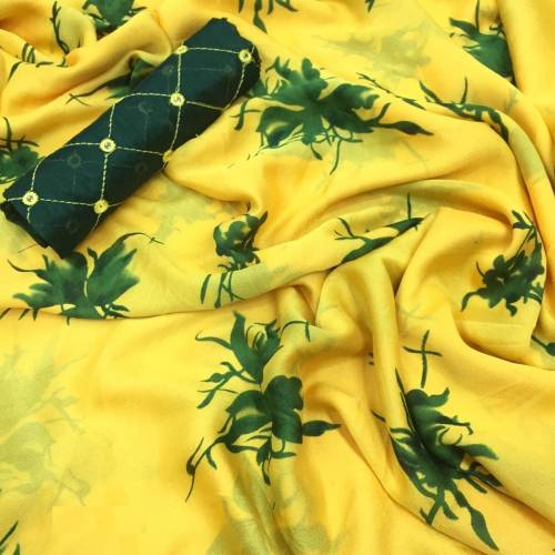 Yellow Color Gorgeous Silk Chiffon with Digital Print Saree