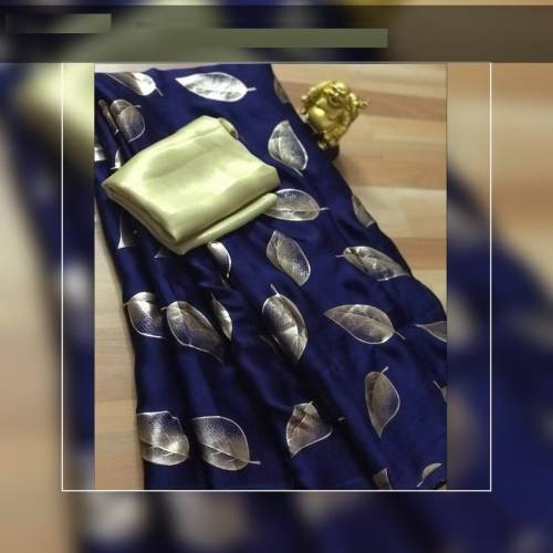 Navy Blue Color Pure Imported Rich Silk Saree with Gold Metty Blouse Fabric