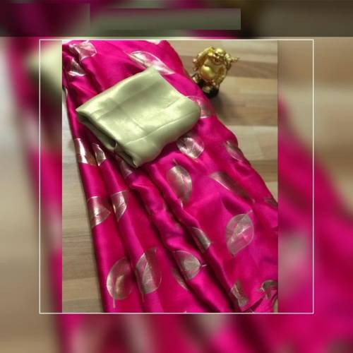 Lavishing Pink Color Imported Rich Silk Saree Blouse For Women