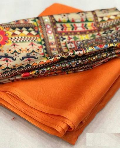 Orange Color Moss Chiffon Plain saree with Digital Printed Satin Silk Blouse Material