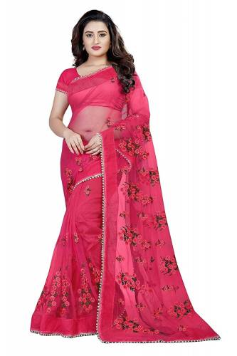 Function  Wear Pink  Net Embroidered Work Saree