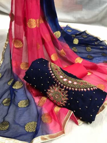 Beautifull Blue Color Handwork Embroidered Modal Chanderi Silk Dress Material