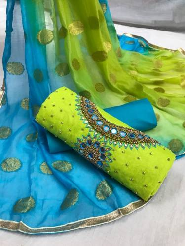 Absolute Parrot Green Colored Handwork Modal Chanderi Silk Dress Material