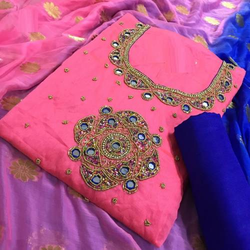 Amazing Pink Chanderi Silk Handwork Embroidered Multi color Dress Material