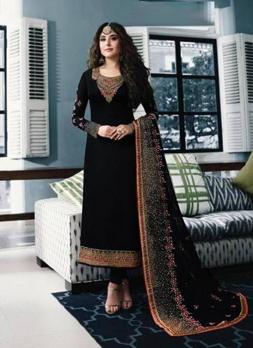 Black Color Georgette Embroidered Straight Cut Salwar Suit