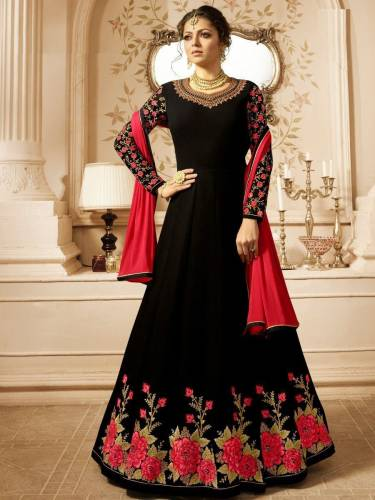 Black Color Faux Georgette Heavy Embroidered Flower Semi Stitched Anarkali Salwar  Suit