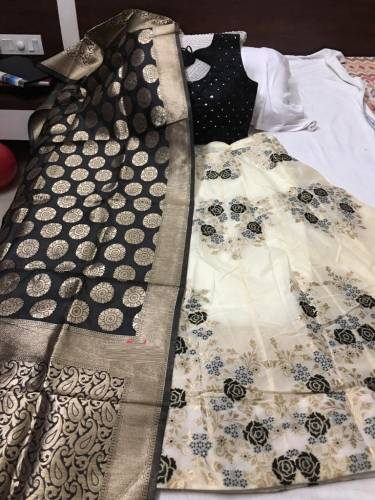 Black White Banarasi Lehnga Choli For Women