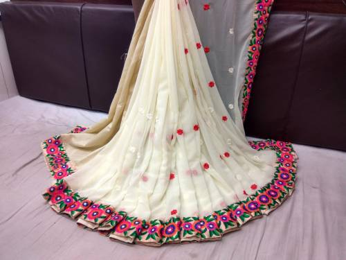 White Georgette Embroidered Saree With Blouse Design Online
