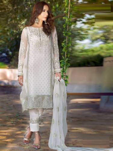 FancyWear White Faux Georgette Embroidered Work Straight-Cut Salwar Suit