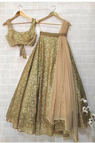 Wedding Wear Gold Net Silk Semi Stitched Lehenga Choli Design Online