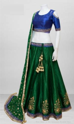 Party Wear Green Color Banglori Sartin Silk Embroidered Lehenga Choli For Women