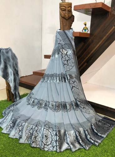 Adorable Gray Colour Sartin patta Saree For Women