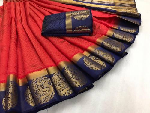 Red and Blue Colour Hit Designer Kanjivaram tusser silk  Saree