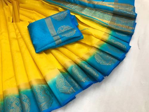 Lovely Casual Wear Yellow and Sky Colour Kanjivaram tusser silk  Saree