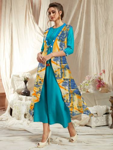 Beautiful Firozi Color Rayon Kurti With Diamond Georgette Printed Jacket VT2123111E