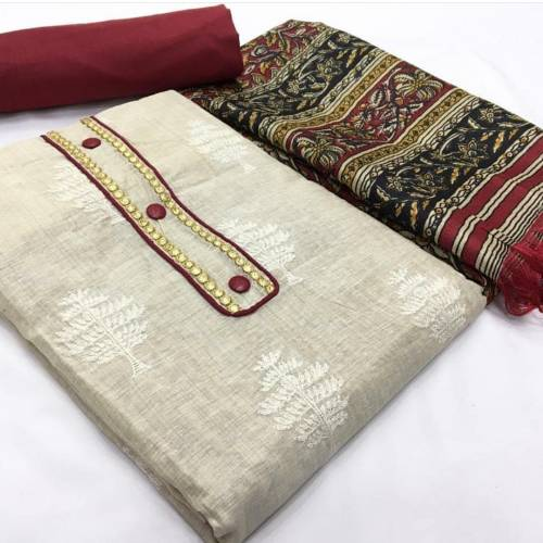 Amazing Offwhite & Marron Colored Combination Khadi Cotton Party Wear Salwar Suit-VT1098101B