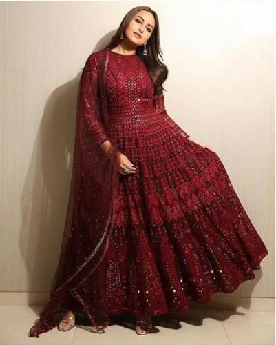 Pretty Maroon Colored Georgette PartyWear Chain Stitched Diamoned Work Suit-VT2042-6073R