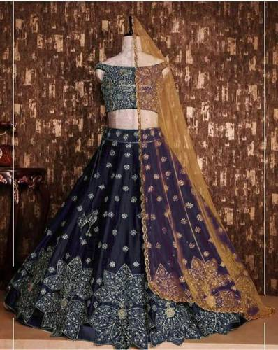 Blue Colored Party Wear Lehenga Choli Tapeta Silk With Embroidered Work