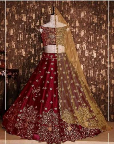 Stunning Maroon Color Party Wear Tapeta Silk Embroidered Lehenga Choli-VT1159DVD9054R