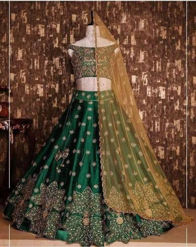 Green Colored Party Wear Tapeta Silk With Embroidered Work Lehenga Choli