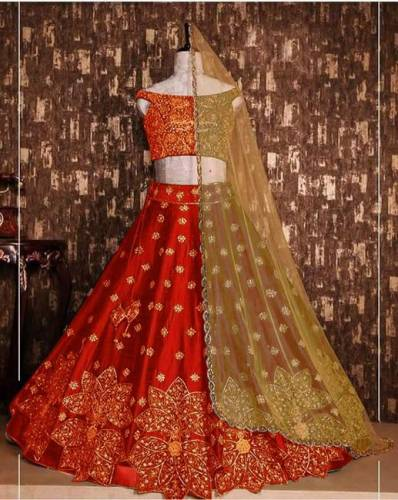 Impressive Red Colored Party Wear Tapeta Silk With Embroidered Work Lehenga Choli-VT1159DVD9054R