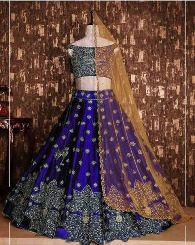 Blue Colored Designer Tapeta Silk With Embroidered Work Party Wear Lehenga Choli