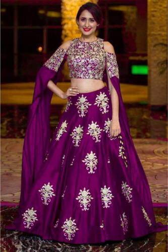 Intricate Purple Colored Party Wear Embroidered Tapeta Silk Lehenga Choli-VT1159DVD9047P