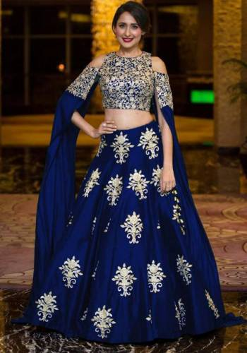 Beautifull Blue ColoredTapeta Silk Embroidered Work Lehenga Choli