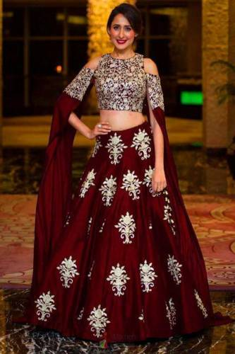 Delightful Maroon Colored Designer Tapeta Silk With Embroidered Work Lehenga Choli-VT1159DVD9047M
