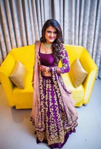 Jazzy Purple Tapeta Silk With Embroidered Lehenga Choli For Women