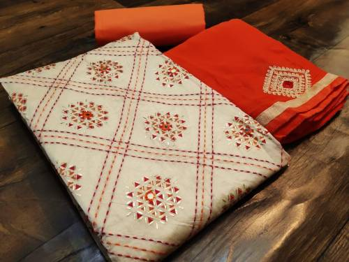 Adorable Orange Color Chanderi Cotton With Katha Work Salwar Suit