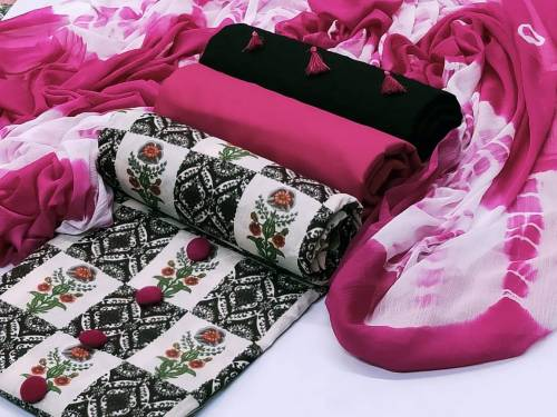 Amazing two Cotton Dress Material Chikenkari Work For ladies