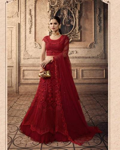 Adorable Carmine Color Net Thread Sequence Embroidered Work Lehenga Choli For Wedding Wear