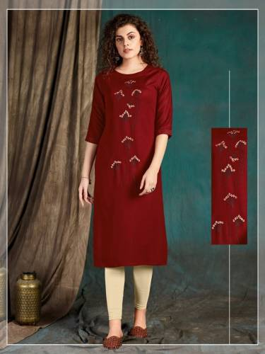 Good-looking Maroon Color Ready Made Slub Rayon Embroidered Work Kurti For Wedding Wear