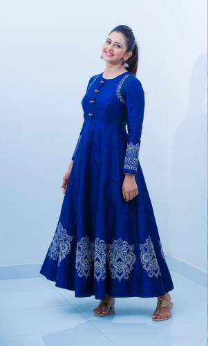 Ithnic Wear Shocking R.P Blue Semi Stitched Gown-MINIAB106