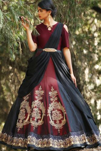 Wedding Wear Extraordinary Maroon & Black Digital Print Semi Stitched Gown-MINIAB156