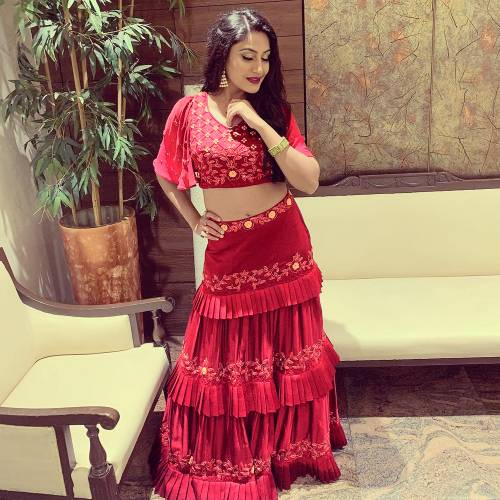 Bollywood Style Nice-looking Anika Maroon Three Layers Semi Stitched Crop Top Lehenga-MINIAB185