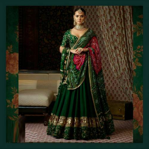 Dark Green Banglori Silk Embroidered Semi Stitched Lehenga Choli For women-MINIAB201