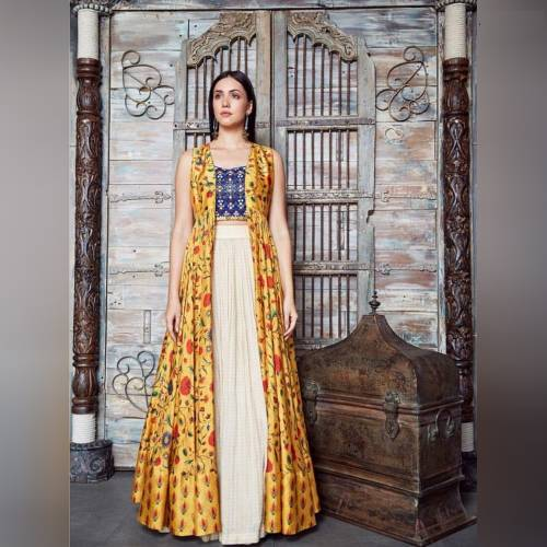 Dignified Yellow Color Georgette Digital Printed Semi Stitched lehengas For Women