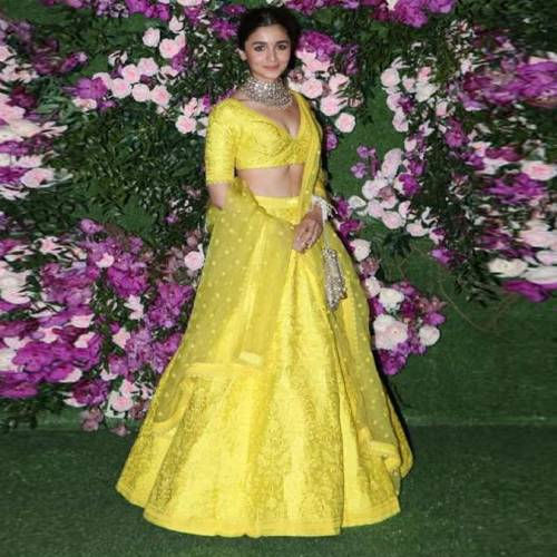 A yellow color taffeta silk embroidered semi stitched lehenga choli with dupatta