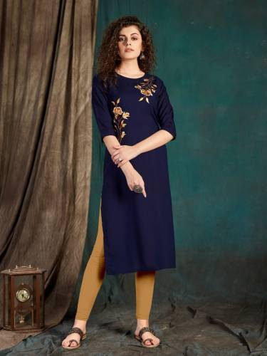 Radiant Navy Blue Color Full Stitched Slub Rayon Fancy Embroidered Work Kurti For Party Wear
