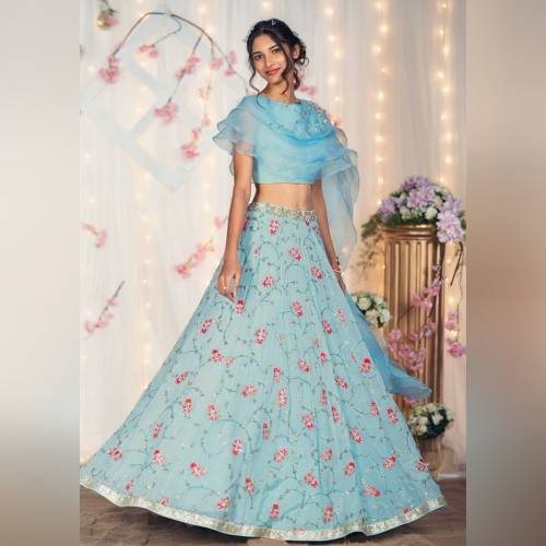 Bollywood Style Elegant Pale Blue 3 Layer Semi Stitched Crop-top-MINIAB264
