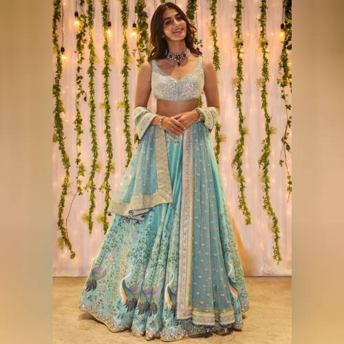 Exquisite Sky Color Banglori Satin Printed Semi Stitched Lehenga Choli