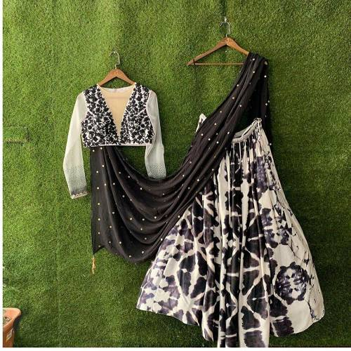 Function Wear Black Color Crep Silk Printed Shibori Semi Stitched Lehenga