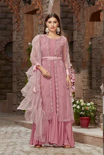 Admiring Light Color Net Fabric Jacket with Georgette Long Anarkali Suit