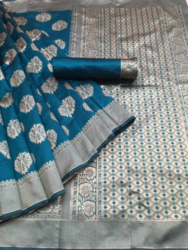 Banarasi silk saree_Rama color silk base saree for women