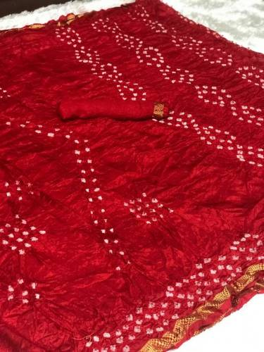 New Red Color Bandhani Satin Silk With Weaving Border Saree For Ladies