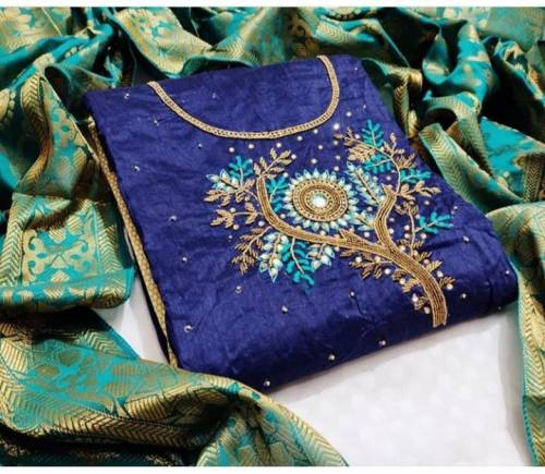 Blue Chanderi Cotton With Hand Work And Banarasi Dupatta Salwar Suit In India